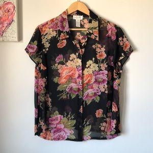 JNY sheer silk Hawaiian print floral blouse - 16W